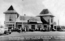 Black and white image of Chester Oil Company Building at 1 West Main Street, Chester, New Jersey circa 1940